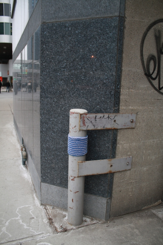 Blue Stripes Knit Graffiti